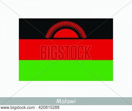 National Flag Of Malawi. Malawian Country Flag. Republic Of Malawi Detailed Banner. Eps Vector Illus