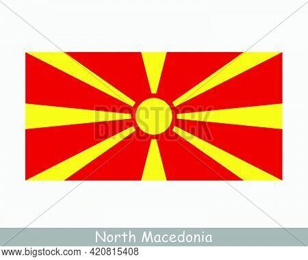 National Flag Of North Macedonia. Macedonian Country Flag. Republic Of North Macedonia Detailed Bann