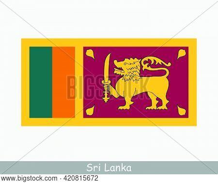 National Flag Of Sri Lanka. Sri Lankan Country Flag. Democratic Socialist Republic Of Sri Lanka Deta