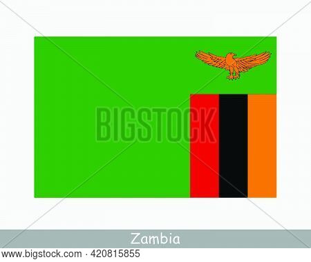 National Flag Of Zambia. Zambian Country Flag. Republic Of Zambia Detailed Banner. Eps Vector Illust
