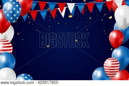 July, 4 Independence Day In Usa Background. Can Be Used As Banner Or Poster. Vector Illustration