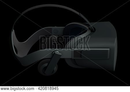 Virtual Reality Glasses Isolated On Black Background. 3d Rendering Of Goggles For Virtual Design In