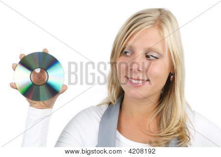 Woman Presenting Disc