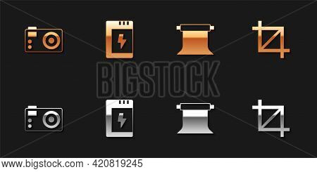 Set Photo Camera, Battery For, Empty Photo Studio And Picture Crop Icon. Vector