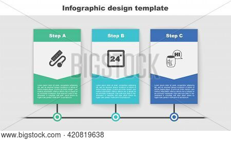 Set Electric Extension Cord, Thermostat And Voice Assistant. Business Infographic Template. Vector