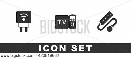 Set Smart Electric Plug, Multimedia And Tv Box Receiver And Electric Extension Cord Icon. Vector