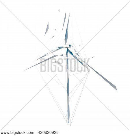 Wind Power Plant Tower, Low Polygonal Isolated Vector Illustration, Geometric Drawing From Triangles