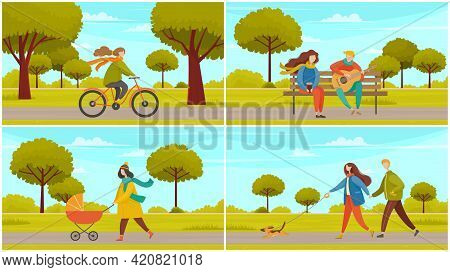 People On Walk In City Park Scenes Set. Happy Young Mother With Baby In Stroller, Girl Riding Bike,