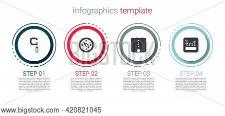 Set Micrometer, Compass, Depth Measurement And Graph, Schedule, Chart, Diagram. Business Infographic