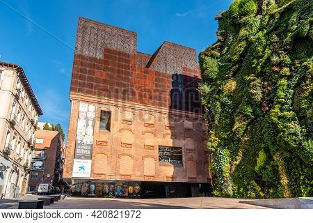 Madrid, Spain - May 8, 2021: Outdoors View Of Caixaforum Madrid. It Is A Museum And Cultural Center