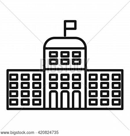 Flag Parliament Icon. Outline Flag Parliament Vector Icon For Web Design Isolated On White Backgroun