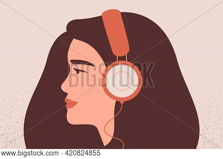 Happy Girl Listens To Music In The Big Headphones. Side View Avatar Of Young Woman Wearing Earphones