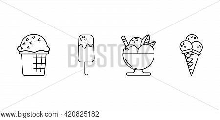 Set Of Simple Black And White Ice Cream Icons Isolated On White Background. Waffle Cone, Three Balls