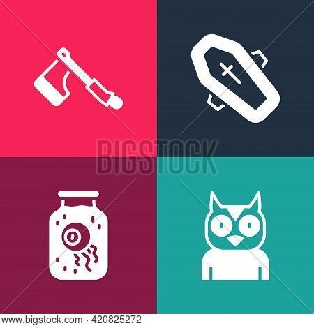 Set Pop Art Owl Bird, Eye In A Jar, Coffin With Cross And Wooden Axe Icon. Vector