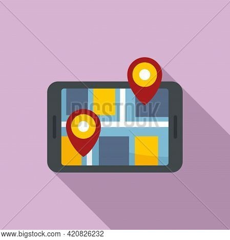 Online Travel Map Icon. Flat Illustration Of Online Travel Map Vector Icon For Web Design