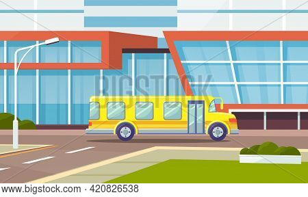 Puplic Transport Route Around City. Urban Or Countryside Traffic Concept. Landscape Of Urban City Wi