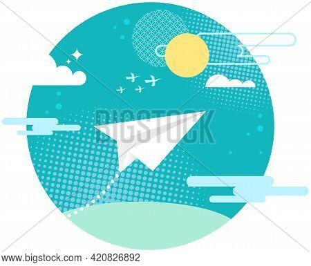 Paper Plane Flying In Blue Sky. Pattern Mockup Design Vector Illustration. Image Of Paper Plane In S