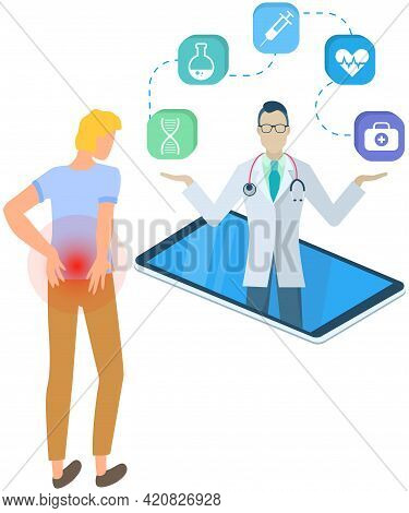 Man With Pain In Back On Online Consultation With Doctor. Medical Specialist On Mobile Phone Consult