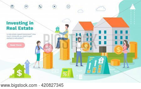 Website Landing Page For Attracting Investors. Real Estate Investment Banner With Characters Buying