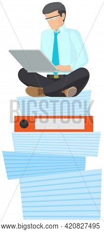Businessman Doing Large Amount Of Work. Busy Male Employee Sitting At Stack Of Folders With Laptop A