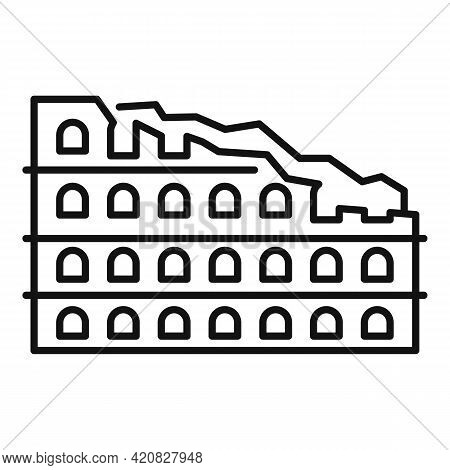 Ruins Sightseeing Icon. Outline Ruins Sightseeing Vector Icon For Web Design Isolated On White Backg