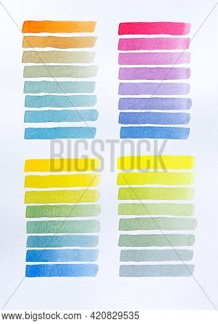 Colorful Watercolor Brush Strokes Background Isolated On White. Set Of Watercolor Brush Stripes. Ink