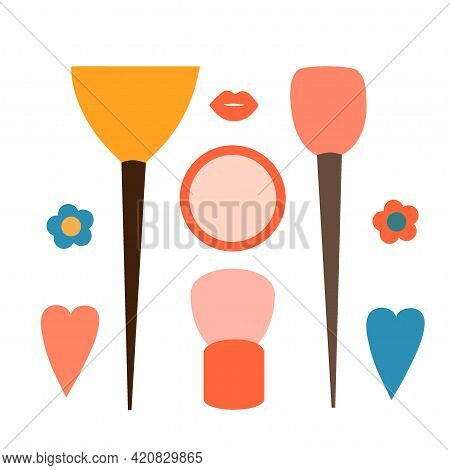 A Set Of Brushes For Eyeshadow And Blush And A Sponge With Powder. Cosmetic And Spa Face Skin Care P