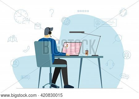 Call Center Operator Man And Hotline Service Icons. Male Helpline Worker With Headset At Work. Onlin