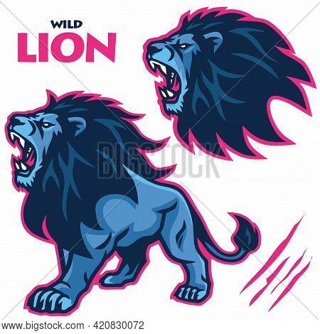 Wild Lion Roar Mascot Vector Sports Logo Illustration Set Collection Bundle Pack