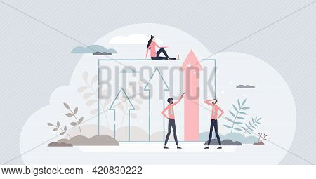 Advantage For Business Growth And Career Development Tiny Person Concept. Work Performance Achieveme