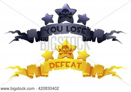 You Lose, Defeat On The Award Ribbons With The Stars For Game Ui.