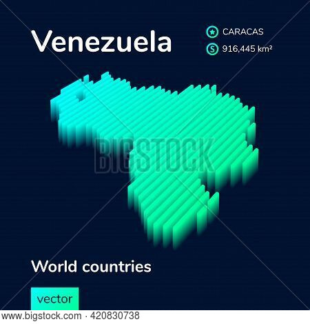Stylized Neon Simple Digital Isometric Striped Vector Venezuela Map, With 3d Effect.  Map Of Venezue