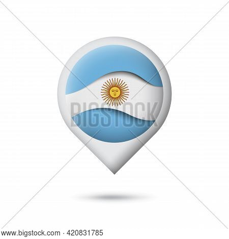 Argentina Flag Icon In The Shape Of Pointer, Map Marker. Waving In The Wind. Abstract Argentine Wavi
