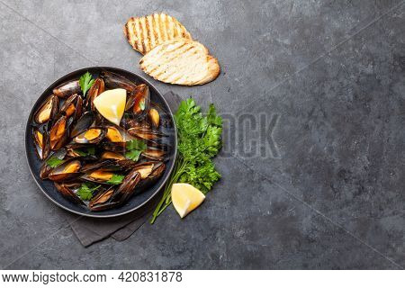 Traditional seafood mussels in wine sauce and toasts. Top view flat lay with copy space
