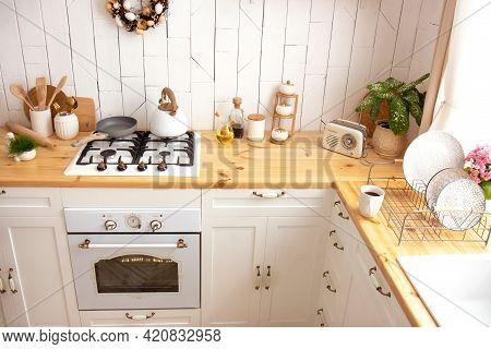 White Kitchen Interior With A Plant On A Wooden Countertop. New Modern Kitchen Interior. Minimalism.