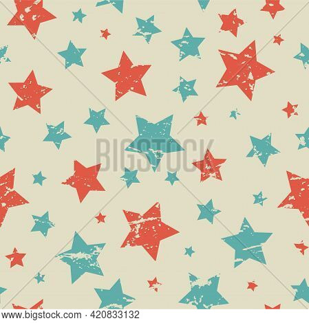 Seamless Pattern With Blue And Red Stars Of Different Rotation And Size On Beige Background. Vector