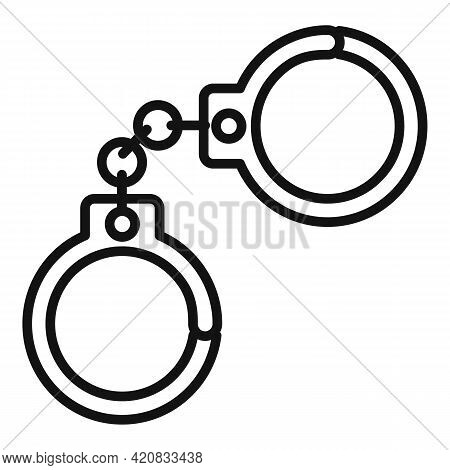 Handcuffs Icon. Outline Handcuffs Vector Icon For Web Design Isolated On White Background