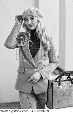 Quality Never Goes Out Of Style. Elegant Woman Wear Jacket And Beret Hat. Stylish Parisian Lady. Fas