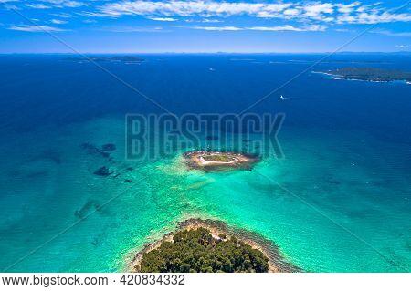 Crvena Luka Turquoise Beach And Archipelago Of Adriatic Sea Aerial View, Dalmatia Region Of Croatia