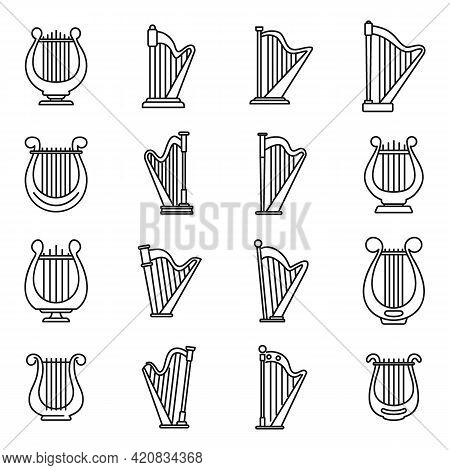 Harp Instrument Icons Set. Outline Set Of Harp Instrument Vector Icons For Web Design Isolated On Wh