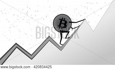 Bitcoin Btc Is Climbing To The Next Peak On White. Cryptocurrency Has All Time High. Btc Coin To The