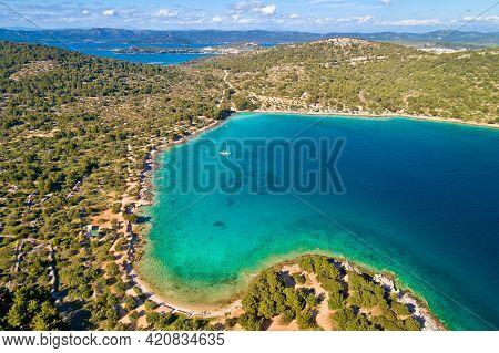 Kosirna Beach And Turquoise Bay On Murter Island Aerial View, Dalmatia Archipelago Of Croatia