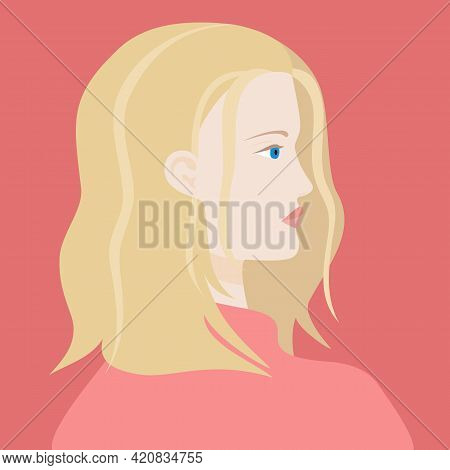 Portrait Of A Blond Haired Caucasian Woman With Blue Eyes In Pink Sweter. The Head Of A European Gir