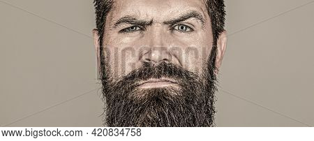 Portrait Brutal Bearded Man. Portrait Of Masculinity. Sexy Look Of Male. Hipster Man With Beard, Mus