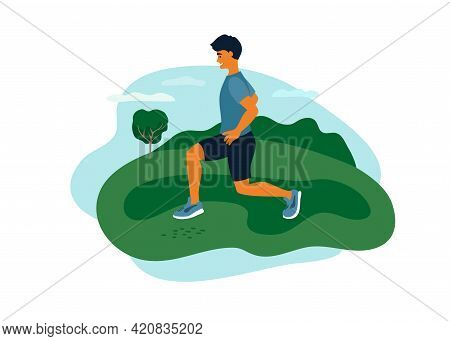 Man In Sport Clothes Doing Lunges Exercise, Training On Fresh Air. Outdoor Physical Activity, Health