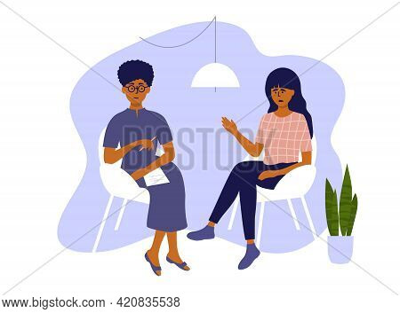Psychological Help. Psychotherapy Session, Therapy Mental Problem Or Female Depression Treatment. Sa