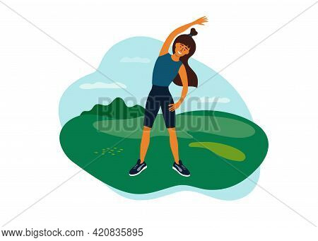 Outdoor Physical Activity, Female Healthy Lifestyle, Active Leisure. Young Woman Doing Side Bends, S