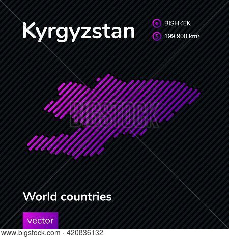 Vector Creative Digital Neon Flat Line Art Abstract Simple Map Of Kyrgyzstan With Violet, Purple, Pi