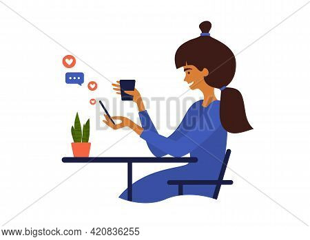 Young Woman Using Smartphone. Cute Girl Sitting At Table Drinking Coffee, Chatting Online, Browsing