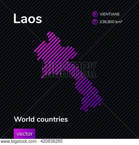 Vector Creative Digital Neon Flat Line Art Abstract Simple Map Of Laos With Violet, Purple, Pink Str